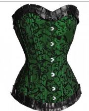 Buy Green/Black Jacquard Damask Corset M