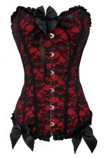 Buy Lace Overlay Satin Corset red/black M
