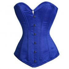 Buy Satin Steel Busk Corset royal blue M