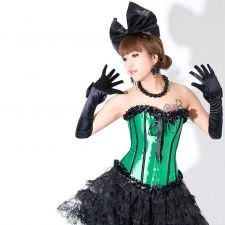 Buy Ruffle Trim Satin Corset green/black M
