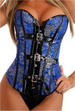 Buy Buckles Front Damask Corset blue/gold L