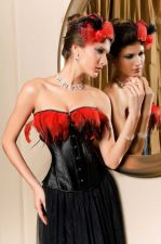 Buy Feather Trim Satin Corset black/red L