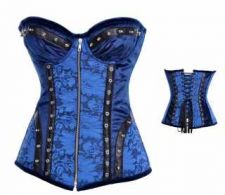 Buy Authentic Steel Boned Rivets Underwire Corset blue L