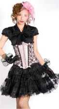 Buy Lace Overlay Satin Underbust Corset pink L