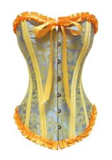 Buy Pleat Trim Jacquard Damask Corset blue/yellow XL