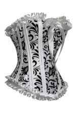 Buy Gorgeous Jacquard Satin Corset white/black 1xl/2xl