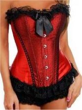 Buy Plus Size Dotted Lace Satin Corset red/black 1xl/2xl