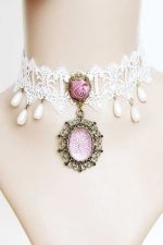 Buy White Lace Collar with Resin Diamond