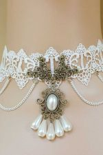 Buy Vintage Lace Necklace with Pearl Detail