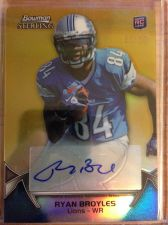 Buy RARE 2012 Bowman Sterling RYAN BROYLES Auto Gold Refractor Rookie SP /25 Lions