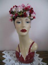 Buy 1950's Pill Box Hat - Pink Flowers, Fleur de Lis Chapeau Tag - Never Worn