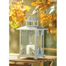 Buy Silver Scrollwork Candle Lantern