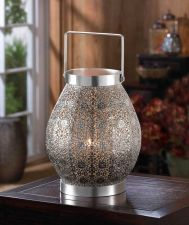 Buy Silver Lace Design Candle Lantern
