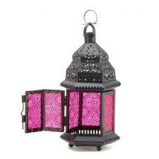 Buy Fuchsia Glass Moroccan Style Lantern