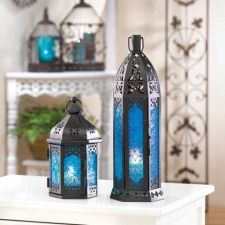 Buy Tall Floret Blue Candle Lantern