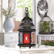Buy Black Lantern with Multi Color Glass