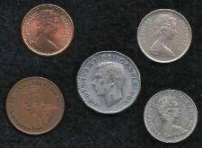 Buy COIN LOT 12 CANADA ENGLAND 5 COIN SET 1932-1971
