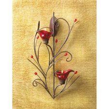 Buy Set of 2 Ruby Blossom Tealight Sconces