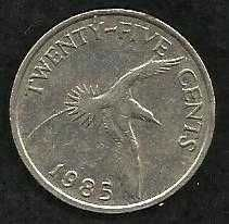Buy Bermuda Islands 25 Cent 1985 Yellow Billed Tropical Bird Queen Elizabeth II Coin