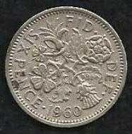 Buy UK England 1960 Six (6)PENCE COIN Ruler Elizabeth II