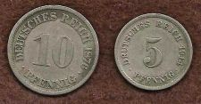 Buy Germany 10 Pfennig 1876 & 5 Pfennig 1914 Coins Imperial Germany