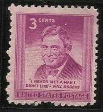 Buy US 3 Cent 1948 Will Rogers Stamp Scott # 975 -MNH - I Never Met Man I Didnt Like