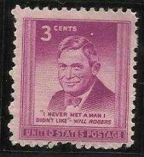 Buy US 3 Cent 1948 Will Rogers Stamp Scott # 975 -MNH - I Never Met Man I Didnt Like