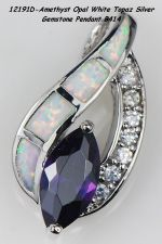 Buy 12191D - Pendant - Amethyst With White Fire Opal And White Topaz 925SSP