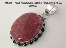 Buy 75575D - Pendant - Pink Rhodonite 925SSP 1.75""