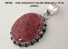 "Buy 75575D - Pendant - Pink Rhodonite 925SSP 1.75"""