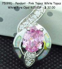 Buy 75177D - Pendant - Pink Topaz White Topaz White Fire Opal 925SSP