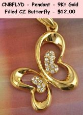 Buy CNBFLYN - Pendant - 9Kt Gold Filled CZ Butterfly