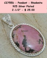 Buy CZ755D - Pendant - Rhodonite 925SSP 2.5""