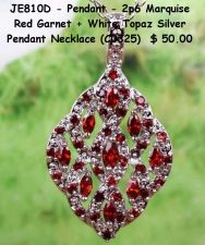 Buy JE810D - Pendant - Marquise Red Garnet + White Topaz 925SSP