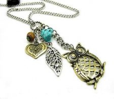Buy Turquoise Leaf Heart Bead OWL Charm Necklace