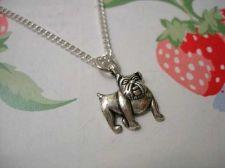 Buy Details about British Bulldog Boxer Dog Vintage Silver Necklace ♥