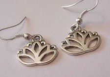 Buy Lotus Flower Silver Charm Earrings