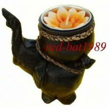 Buy Brown Wooden Hand Carved elephant Tea Light Candle Holder Ornament 4 Inches High