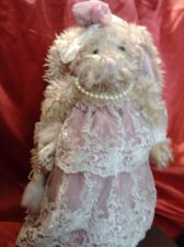 Buy Pink dress with white trim bunny with purse & pearls stuffed animal -Great Gift!