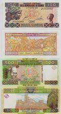 Buy Guinea 2 piece set, Fr.100 + Fr.500, both in mint, UNC condition.