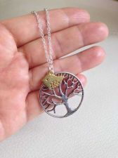 Buy tree of life necklace, long necklace, tree necklace, bird jewelry, antique silve