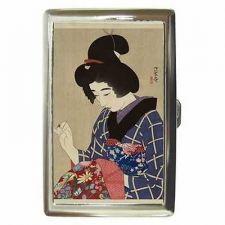 Buy Japanese Woman Sewing Japan Art Cigarette Money Credit Card Case