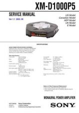 Buy Sony XM-D1000P5 Service Manual by download Mauritron #233483