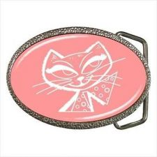 Buy Pink White Kitty Cat 1950s Style Women's Belt Buckle