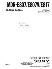 Buy Sony MDR-E807V Service Manual. by download Mauritron #242538
