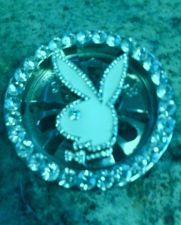 Buy Silver Playboy Bunny White Enamel Rhinestone Spinner Circle Fashion Belt Buckle