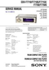 Buy Sony CDX-F7710-F7710S-F7715X Service Manual by download Mauritron #231725