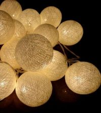 Buy PURE IVORY 20 COTTON BALL STRING LIGHTS HOME WEDDING PARTY GARDEN DÉCOR PALIO