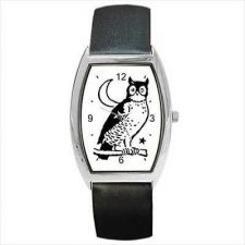 Buy Owl Crescent Moon Unisex Black and White New Barrel Wrist Watch