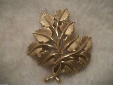 Buy Large Matte Gold Filigree Leaves Gold Brooch/pin Vintage signed CROWN TRIFARI.